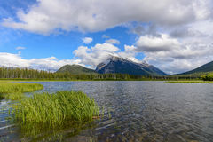 Mount Rundle from Vermillion lake on a cloudy day, Banff NP Royalty Free Stock Images