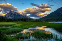 Mount rundle and Vermillion lake at sunset in Banff National Par Royalty Free Stock Photography