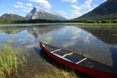 Mount Rundle and Vermillon Lake Stock Images