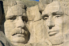 Mount Rushmore. Theodore Roosevelt and Abraham Lincoln on Mount Rushmore stock image