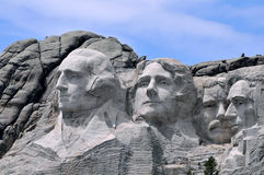 Mount Rushmore. National Memorial in South Dakota features sculptures of former U.S. presidents George Washington, Thomas Jefferson, Theodore Roosevelt and royalty free stock photos