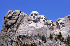 Mount Rushmore. National Memorial in South Dakota features sculptures of former U.S. presidents George Washington, Thomas Jefferson, Theodore Roosevelt and stock image
