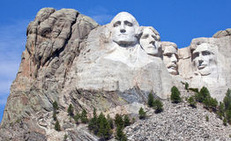 Mount Rushmore. On a clear, sunny morning. Black Hills of South Dakota royalty free stock images