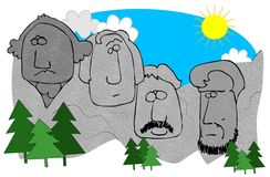 Mount Rushmore. This illustration depicts the faces on the mountains at Mount Rushmore Stock Images