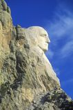 Профиль Джорджа Вашингтона, национального монумента Mount Rushmore около быстрого города, Южной Дакоты Стоковые Фотографии RF