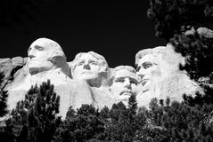 Mount Rushmore. National Memorial in black and white Stock Photos