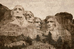 Mount Rushmore aged with a sepia tone affect.  royalty free stock photos
