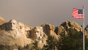 Mount Rushmore American Flag. Mount Rushmore and the flag of the United States Stock Image