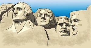 Mount Rushmore bergmuseum, bergdragning stock illustrationer