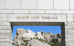 Mount Rushmore, Grand View Terrace Arch. Mount Rushmore National Memorial seen framed by the arch of the Grand View Terrace stock image