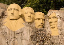 Mount Rushmore in Lego. The four US presidents Washington, Jefferson, Roosevelt and Lincoln of Mount Rushmore constructed with Lego bricks in Legoland, Billund stock images