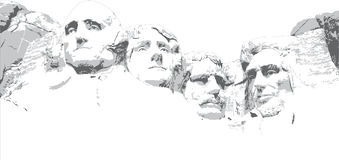 Mount Rushmore Line Drawing royalty free stock images