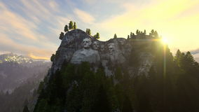 Mount Rushmore, morning mist, camera fly stock video footage