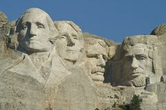 Mount Rushmore National Memorial. Sculptures of George Washington, Thomas Jefferson, Theodore Roosevelt and Abraham Lincoln at Mount Rushmore National Memorial Royalty Free Stock Photos