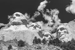 Mount Rushmore National Memorial in Black and White Royalty Free Stock Image