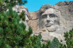 Mount Rushmore National Memorial Sculpture close up of Abraham Lincoln Stock Image