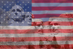 Mount Rushmore. National Memorial in South Dakota features sculptures of former U.S. presidents George Washington, Thomas Jefferson, Theodore Roosevelt and royalty free stock photo