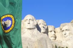 Mount Rushmore National Monument with Flag, Near Rapid City, South Dakota Royalty Free Stock Image