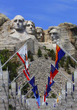 Mount Rushmore National Monument with state flags. Stock Images