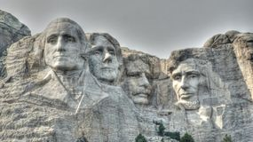 Mount Rushmore National Monument. The visages of George Washington, Thomas Jefferson, Teddy Roosevelt and Abe Lincoln on Mount Rushmore National Monument in Stock Photography
