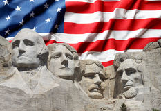 Mount Rushmore National Park Presidents with US flag Stock Image