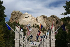 Mount Rushmore. With state flags stock images
