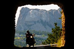Mount Rushmore through tunnel with riders Royalty Free Stock Photography