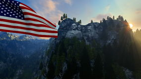 Mount Rushmore with USA Flag blowing in the wind against blue sky vector illustration