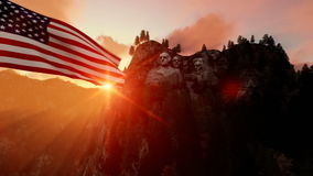 Mount Rushmore with USA Flag blowing in the wind, beautiful sunrise. Hd video stock video