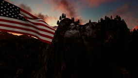 Mount Rushmore with USA Flag blowing in the wind, timelapse sunrise royalty free illustration