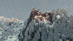 Mount Rushmore in winter, snowing royalty free illustration