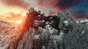 Mount Rushmore in winter, timelapse sunrise, snowing, camera fly royalty free illustration