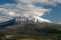 Mount Saint Helens Volcano Washington. Steam Vents Releasing from Mount Saint Helens Crater during a period of increased seismic volcanic activity that is Stock Images