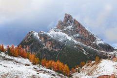 Mount Sass de Stria, Falzarego path, Dolomites Royalty Free Stock Images