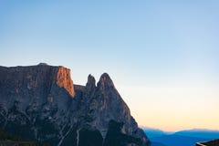 Mount Sciliar, alpine glow, Dolomites Seiser Alm, Italy Royalty Free Stock Photos