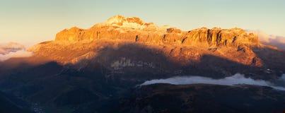 Mount Sella sunset panorama stock images