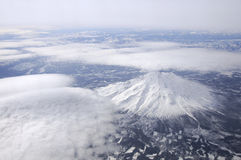 Mount Shasta from 35,000 ft. Aerial view of Mount Shasta, California Royalty Free Stock Image