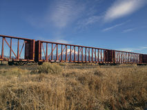 Mount Shasta Through Railcars Royalty Free Stock Image