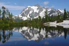 Mount Shuksan. With a reflection in a picture lake in Washington State USA Stock Images