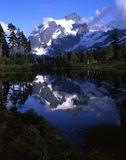 Mount Shuksan. Reflecting in Picture Lake royalty free stock photography