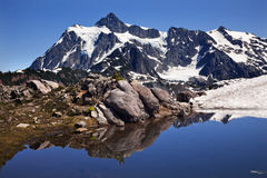Mount Shuksan Blue Snow Pool Washington Royalty Free Stock Photos