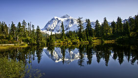 Mount Shuksan in Picture Lake Royalty Free Stock Image