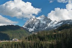 Mount Shuksan and Picture Lake in Baker Wilderness stock photo