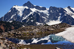Mount Shuksan Small Reflection Pond Washington Stock Image