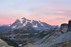 Mount Shuksan Sunset, viewed from Herman Saddle slopes Royalty Free Stock Photo