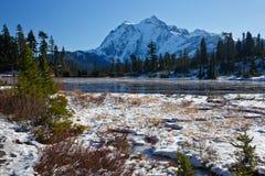 Mount Shuksan winter scene Royalty Free Stock Image