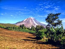 Mount Sinabung with the sky Royalty Free Stock Images