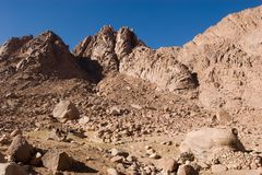 Mount Sinai 1. Rocks and sky at the Mount Sinai royalty free stock images