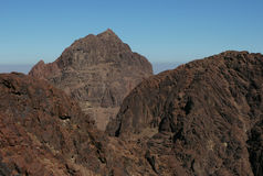 Mount Sinai. Aka Jebel Musa (2285 m) on the Sinai Peninsula, Egypt. The view from the slope of Mount Catherine (2642 m), which is the highest point in Egypt Stock Photography