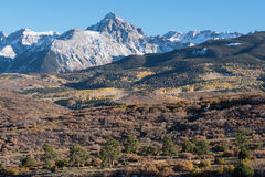 Mount Sneffels Mountain Range in Autumn. Mount Sneffels Mountain Range is located in the San Juan Mountains of Colorado. View from Dallas Divide in southwestern royalty free stock image